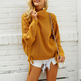 Lace up turtleneck knitted sweater women Elegant white pullover female jumper Casual loose pull femme winter sweater