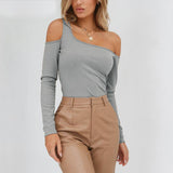 One shoulder knitted sweater women pullover Long sleeve winter jumper female 2018 Winter bodycon sexy sweater