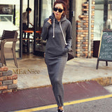 Autumn Winter Women Black Gray Sweater Dress Warm Fur Fleece Hoodies Long Sleeve Slim Maxi Long Dresses Vestidos Femininas