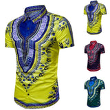 Mens Beach Short Sleeve Shirt Summer Hipster Hip Hop African Dashiki Graphic Top Shirts Blouse Male Drop