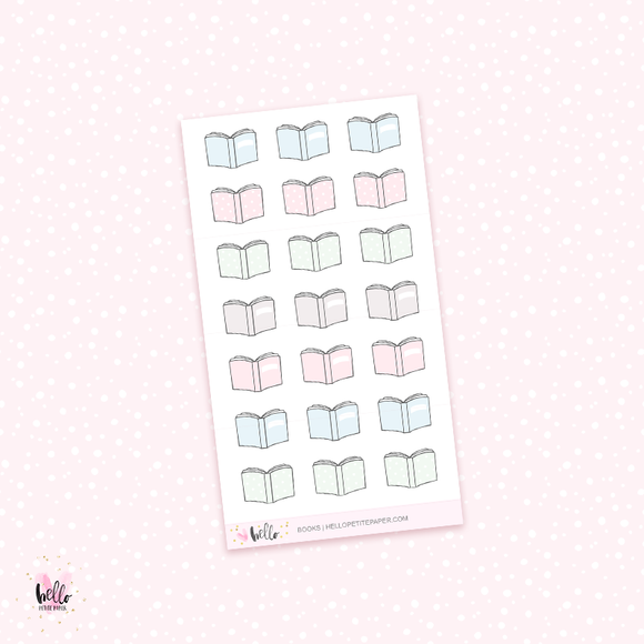 Pastel Books -planner stickers