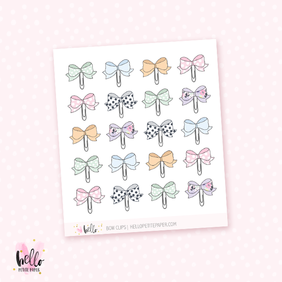 Bow paper clips, planner stickers