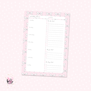 A5 Weekly Notepad - Pink Bows - desk planner/ agenda