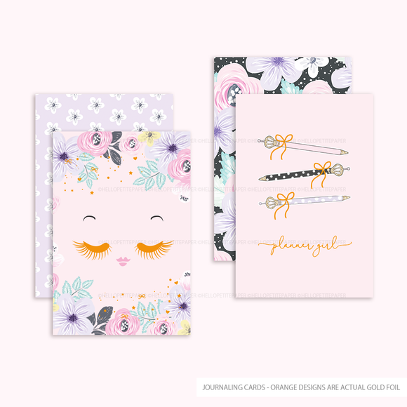 2 Gold Foil Cards - Planner Girl