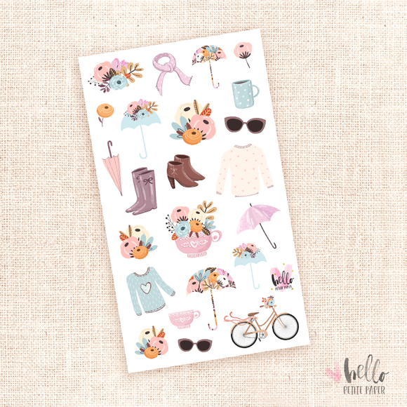 Rainy days - kit deco, planner stickers