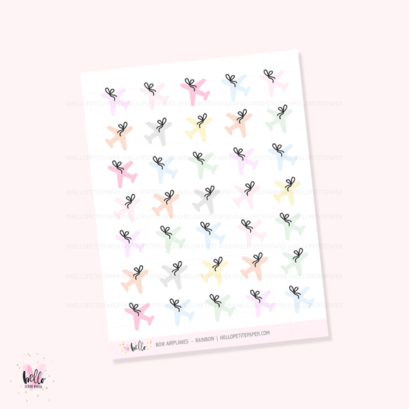 Bow airplane icons (rainbow) - planner stickers