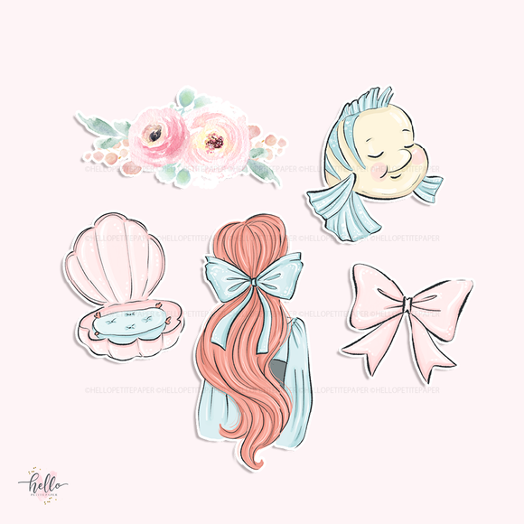 Ariel die-cuts (set of 5)