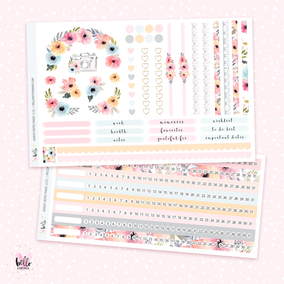 August NOTES Sticker Kit