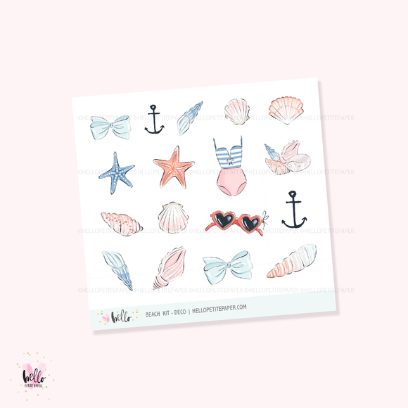 Beach  - Kit deco, planner stickers