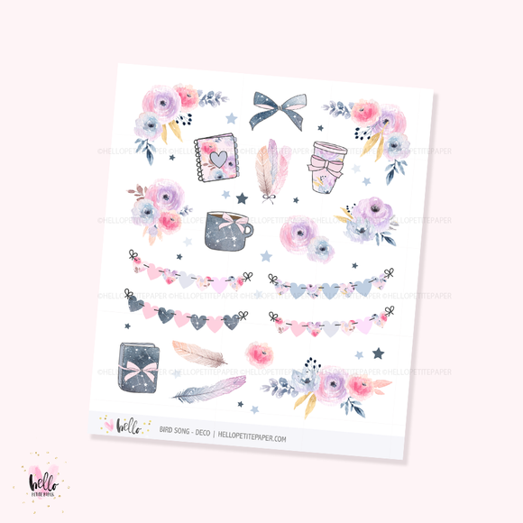 Bird song - Kit deco, planner stickers