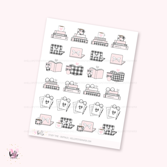 Study/Work stickers (buffalo check) - planner stickers