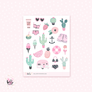 Prickly Pink - kit deco, planner stickers