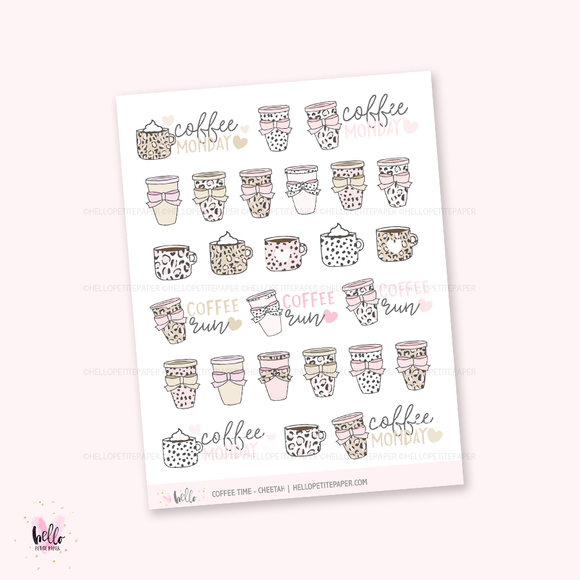 Coffee time (cheetah print) - planner stickers
