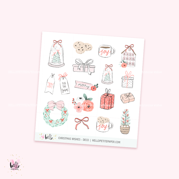 Christmas Wishes - Kit deco, planner stickers