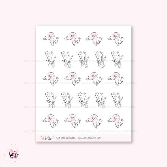 Doodle icons (HAIR CARE) - planner stickers