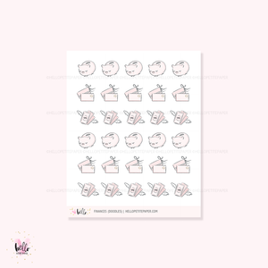 Doodle icons (FINANCES) - planner stickers