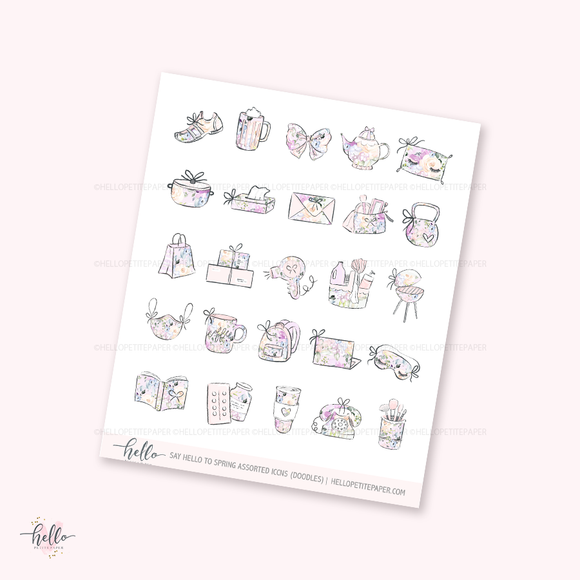Doodle icons (say hello to spring) - planner stickers