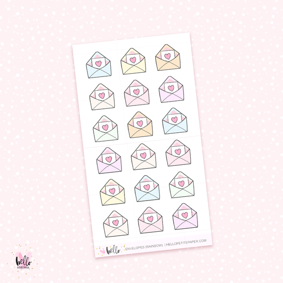 Envelopes (rainbow) - mini planner stickers