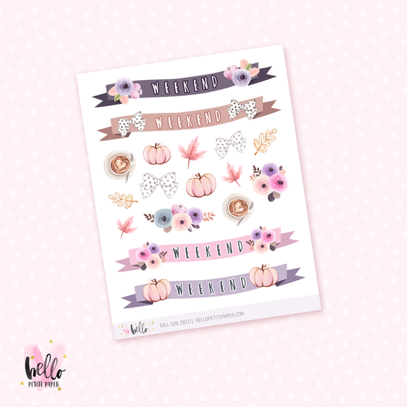 Fall girl  - Kit deco, planner stickers