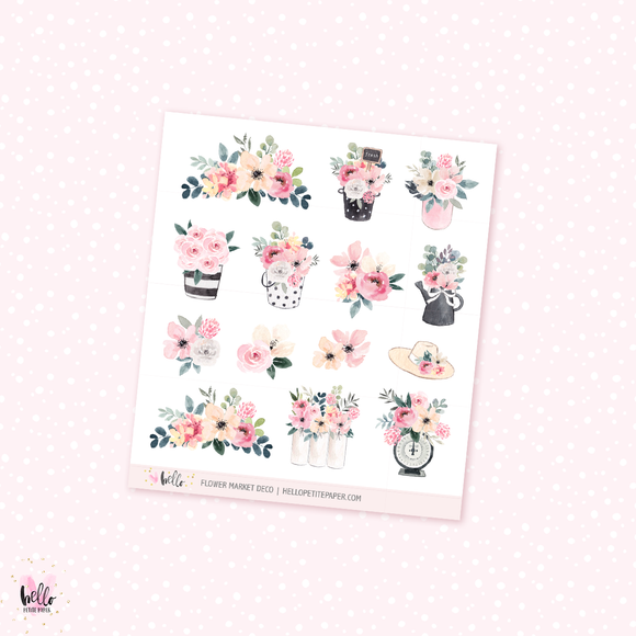 Flower Market- Kit deco, planner stickers