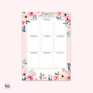 A5 Weekly Notepad - Flower Market -  desk planner/ agenda