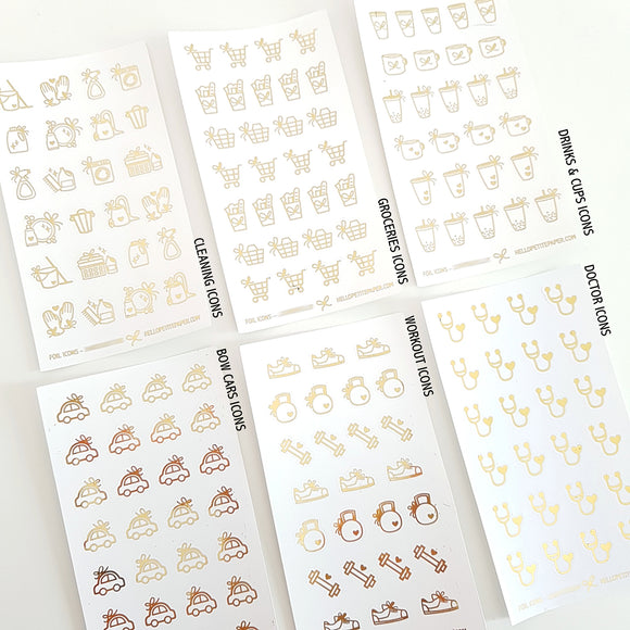 OOPS gold foiled mini icons