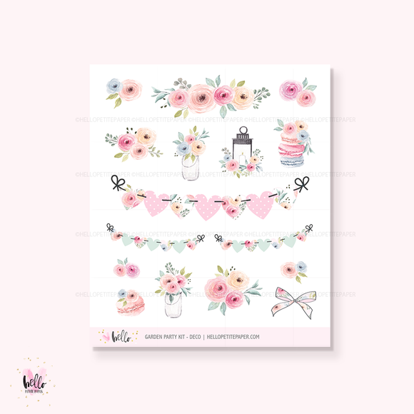 Garden party - Kit deco, planner stickers