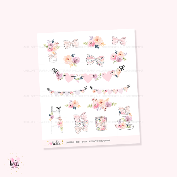 Grateful Heart Deco  - Kit deco, planner stickers