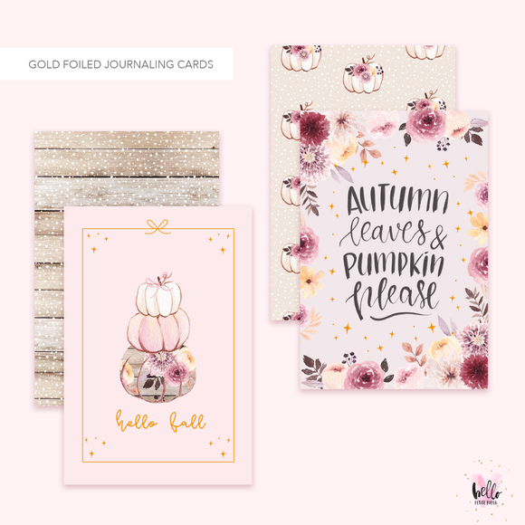 2 Gold Foil Cards - Hello Fall