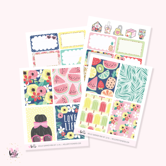 Hello Summer  - Mini sticker kit
