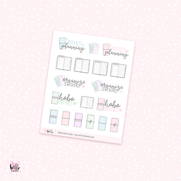Hobo weeks love -  planner stickers