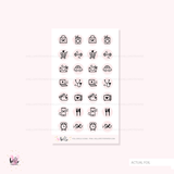 Foiled activity circle icons (pink color scheme)  / glossy mini sticker sheet