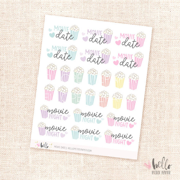 Movie date - planner stickers