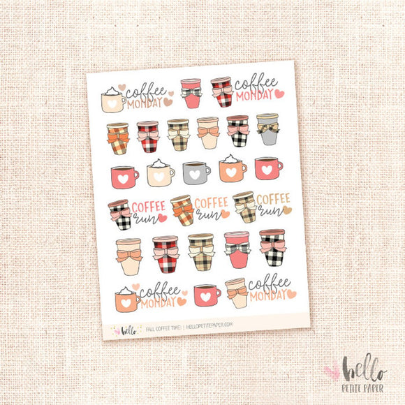 Fall coffee time - planner stickets