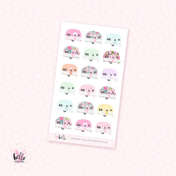 Vintage Campers - mini planner stickers