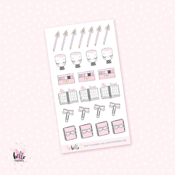 Pink planner girl - mini planner stickers
