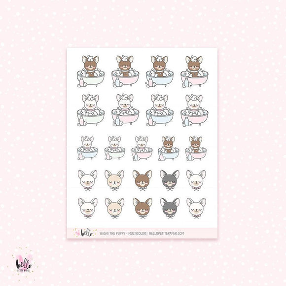 Washi the puppy (bath) - planner stickers