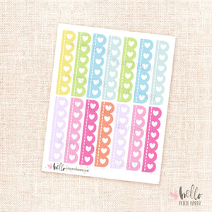Scalloped checklists (rainbow) - planner stickers