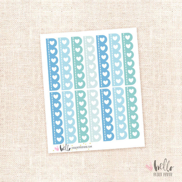 Scalloped checklists (blue) - planner stickers