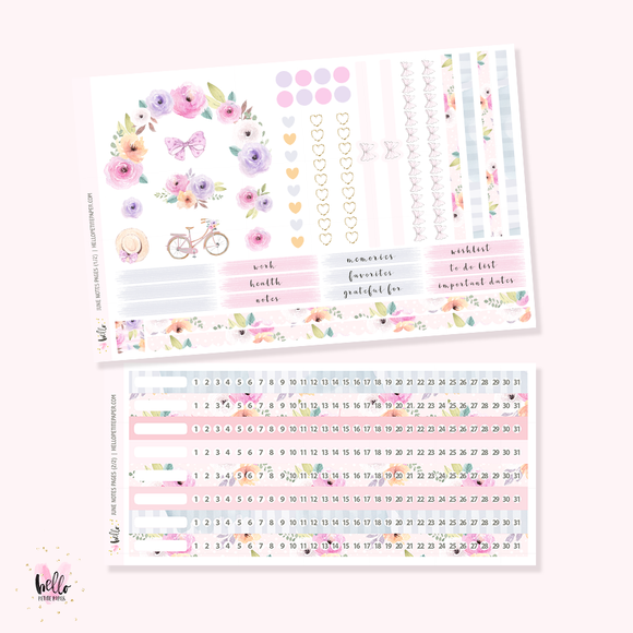 June 2020 NOTES Sticker Kit