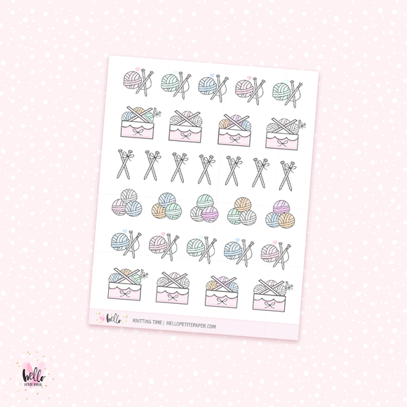 Knitting time - planner stickers