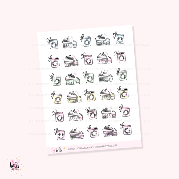 Laundry (pink or rainbow) - planner icon stickers