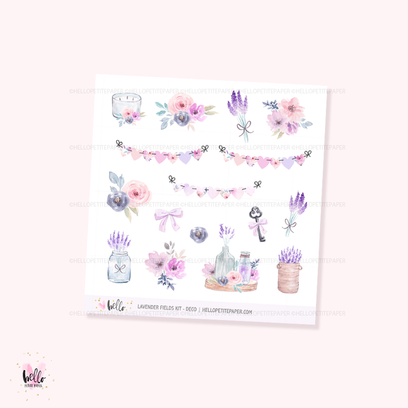 Lavender Fields - Kit deco, planner stickers