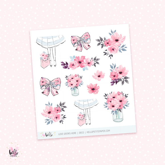 Love Grows Here - kit deco, planner stickers