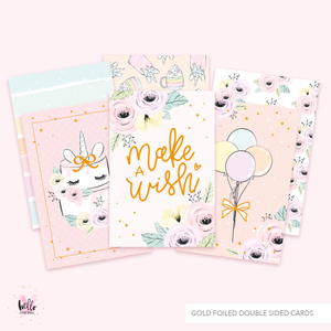 3 Gold Foil Cards - Make a Wish