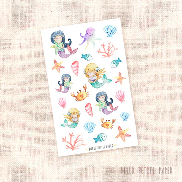 Mermaids - kit deco, planner stickers