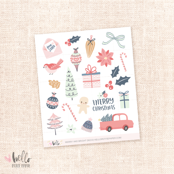Merry and Bright - Kit deco, planner stickers