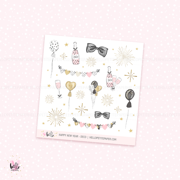Happy New Year  -  deco, planner stickers