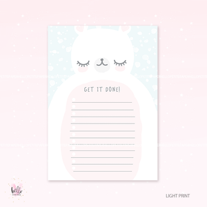 A5 Weekly Notepad -LIGHT PRINT- Polar Bear - desk planner/ agenda