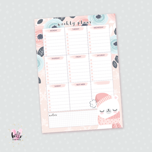 A5 Weekly Notepad - Winter Bear - desk planner/ agenda
